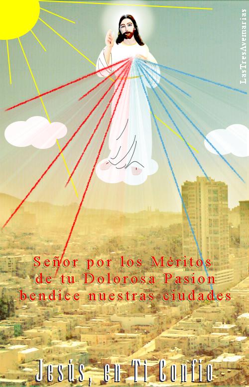 imagen de jesus misericordioso en una nuve