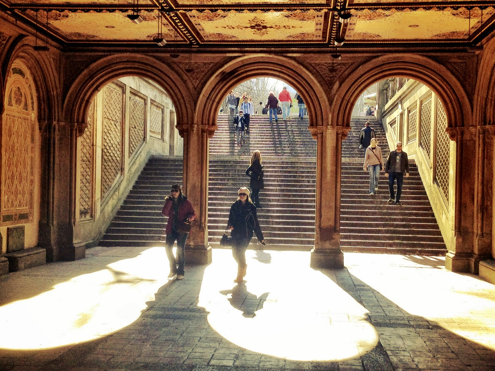 Steps leading to the Bethesda Fountain in Central Park, New York. Taken using Camera+