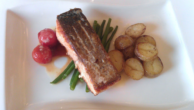 Pan Fried Salmon, Confit Tomatoes