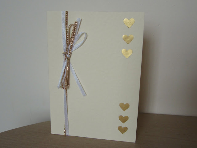 homemade card gold heart