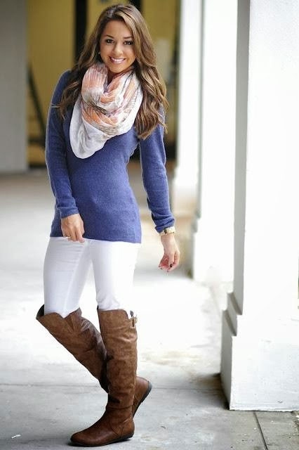 Navy Blue Shirt with White Trousers, Stylish Patterned Scarf and Brown Leather Amazing Long Boots