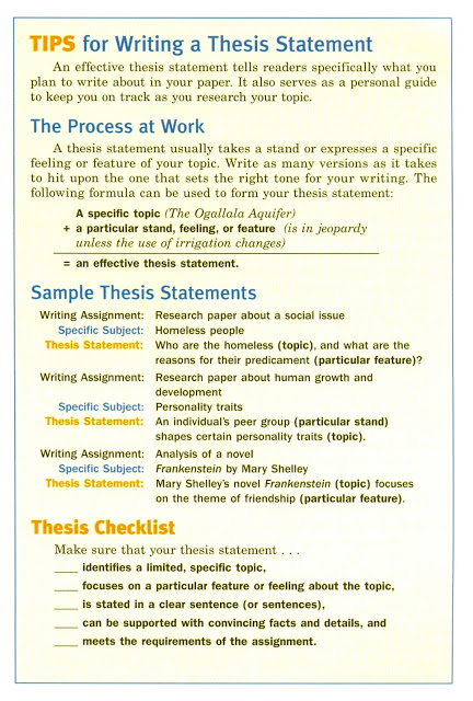 Examples Of Research Paper Thesis Statements
