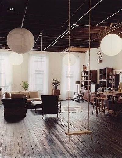 indoor swing bedroom living room design Frog Hill Designs Blog