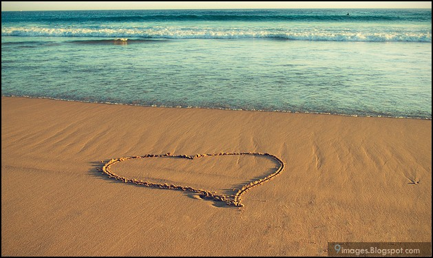 heart, beach, sand, art, beautiful