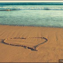 heart, beach, sand, art, beautiful