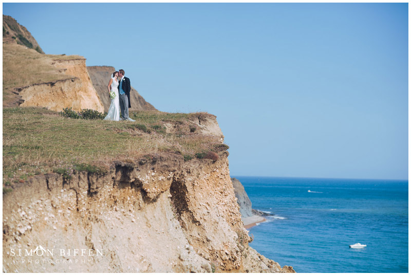 Bride and Groom portrait on the cliffs Chideock