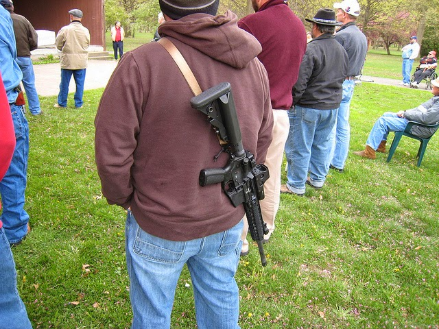 Ohioan protecting others with his large, manly gun!
