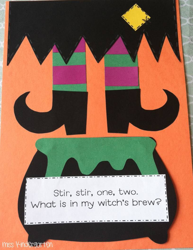 i also made this cute little witch craft hehe get it and poem to help my kiddos practice with rhyming words - Halloween Art For Kindergarten