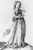 A drawing of a maiden by Martin Schongauer