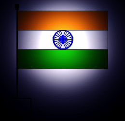 Indian flag with bright spotlight from behind on dark background
