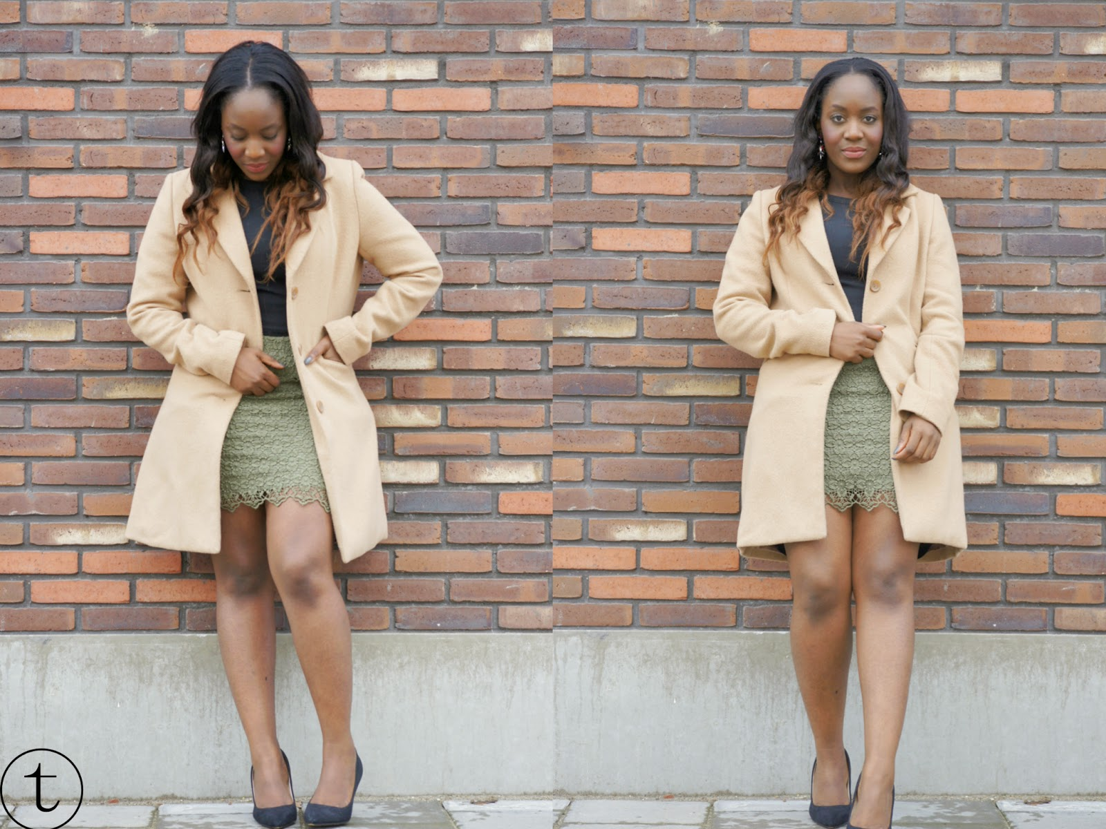 outfit post wearing camel coat and lace skirt