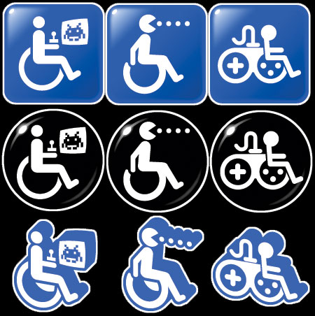 Three different symbols, in three different styles representing  game accessibility. The first is of the Universal Symbol of  Accessibility (the wheelchair user) with a joystick playing a variant of  Space Invaders. The second is of Pac-Man in a wheelchair munching some  dots. The third is of a hybrid large basic joypad merging into a  wheelchair user.