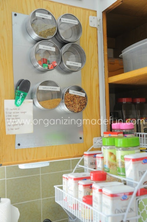 25 of My Best Organizing Hack: metal board for organizing spices on the back of the door:: OrganizingMadeFun.com