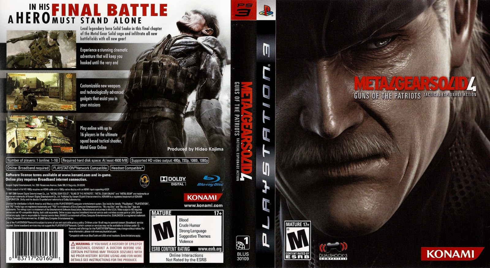 Metal Gear Solid 4 Custom PS3 Cover