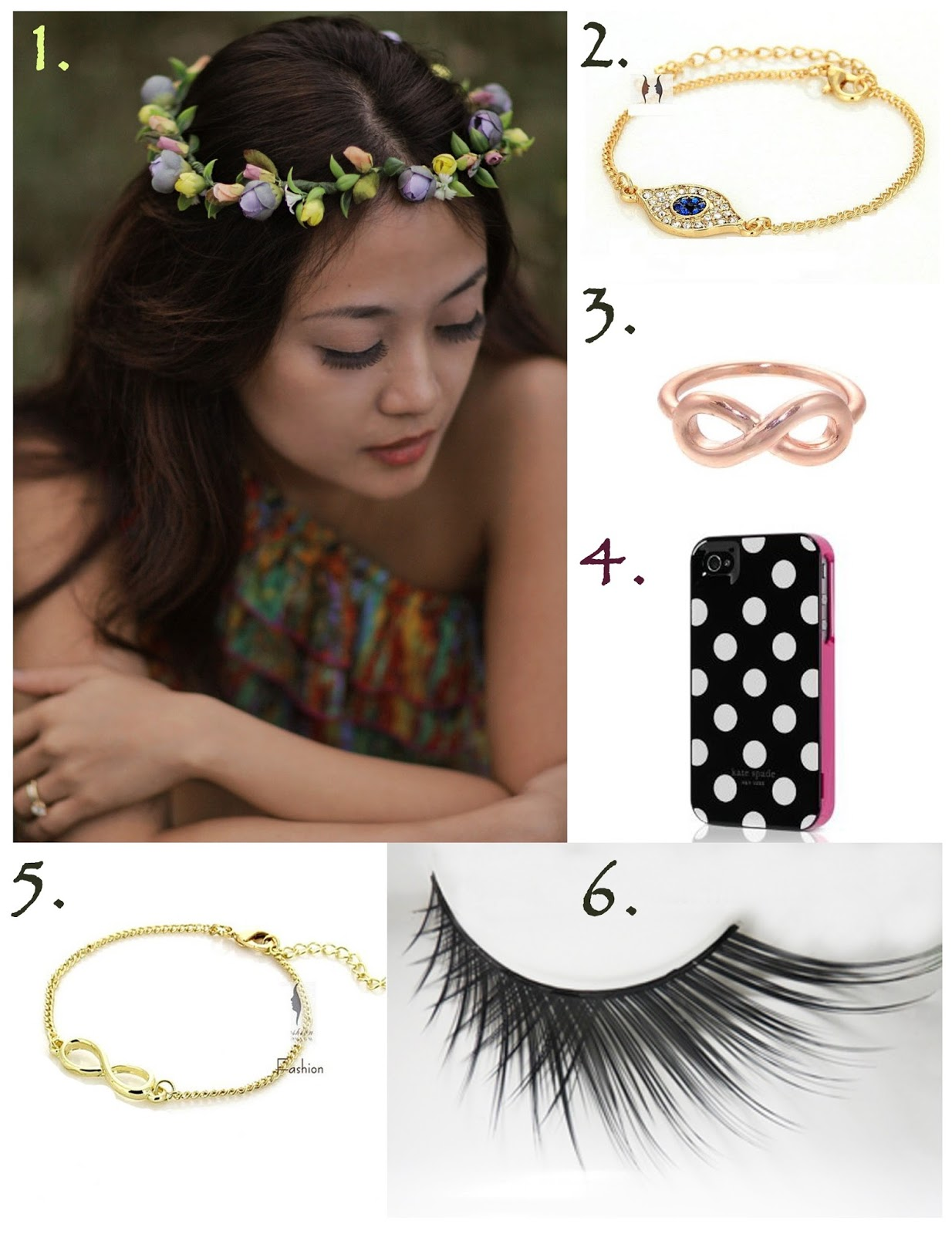 flower, wreath, evil eye, accessories, infinity, knuckle ring, bracelet, falsies, kate spade, iphone case, false eyellashes, online shopping