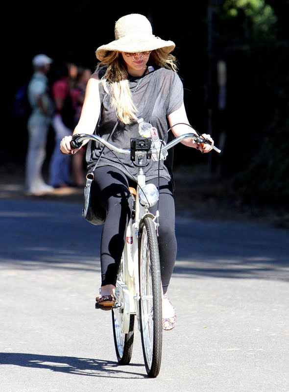 Hilary Duff  on Her Bike in Toluca Lake