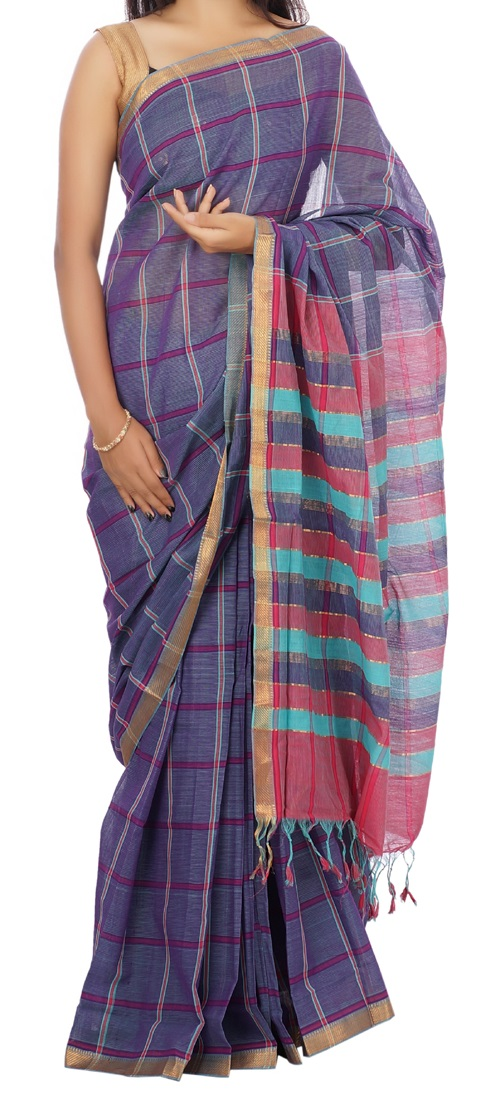 Devi Handlooms Purple Cotton Saree