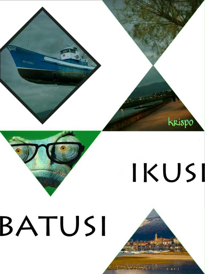 cartel con triangulos y fotos de ikusi batusi