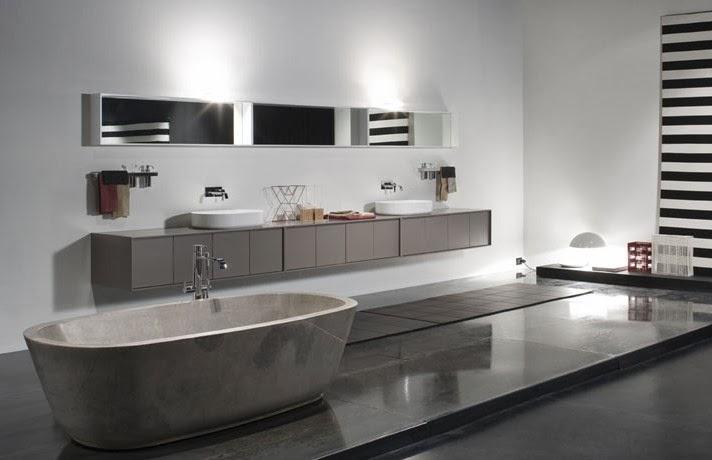 Iluminacion Baño Moderno:Baño moderno y elegante donde los accesorios decorativos son pocos y