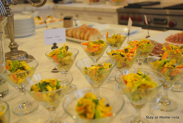 curry chicken salad in martini glasses