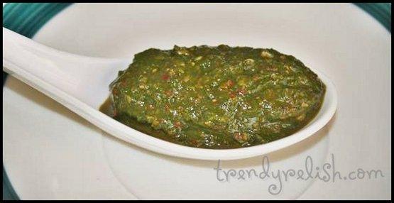 Spinach Chutney (Palakoora Pachadi)