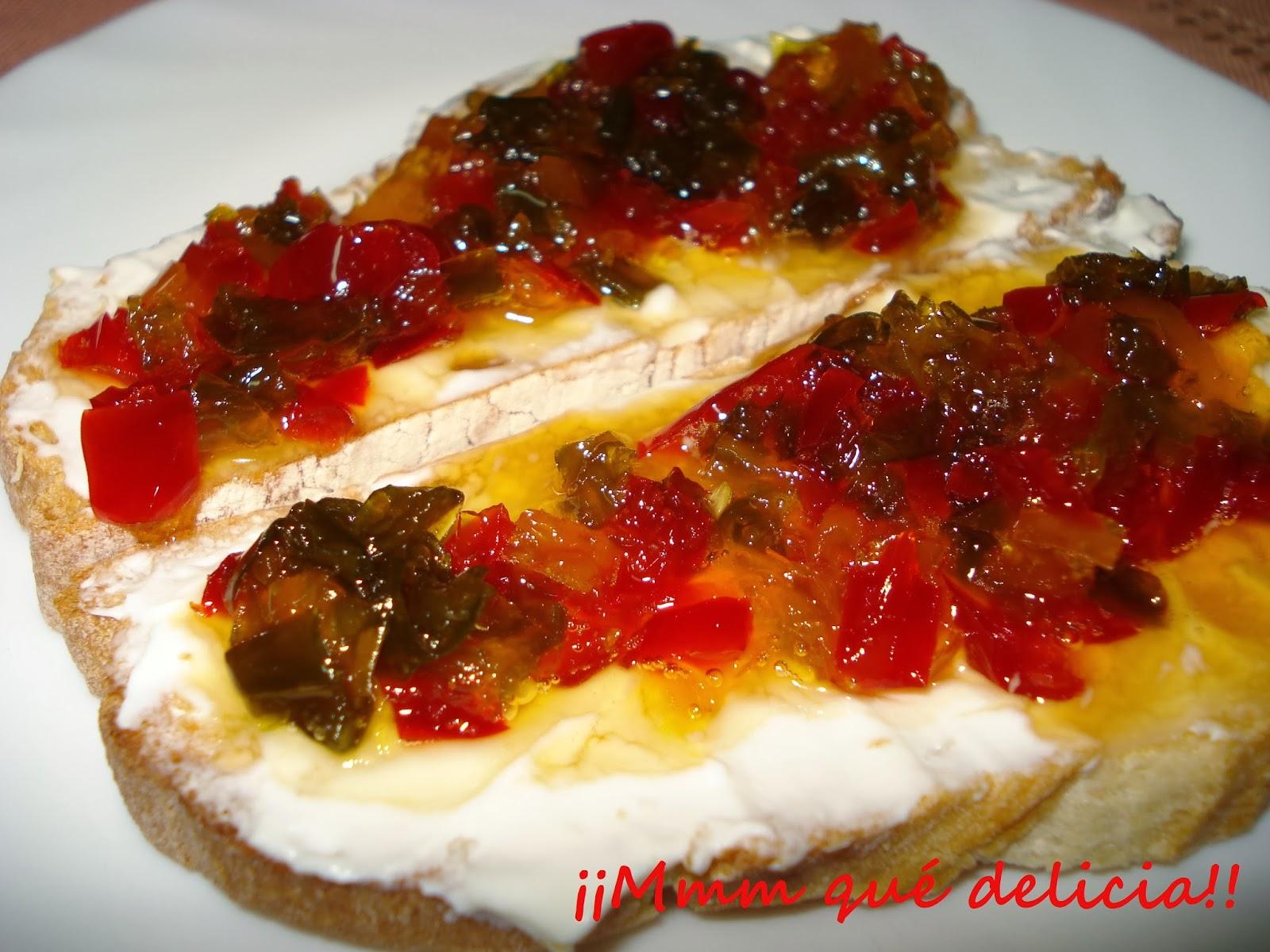 Mmm qu delicia pimientos caramelizados de tres colores - Como hacer mermelada de pimientos ...