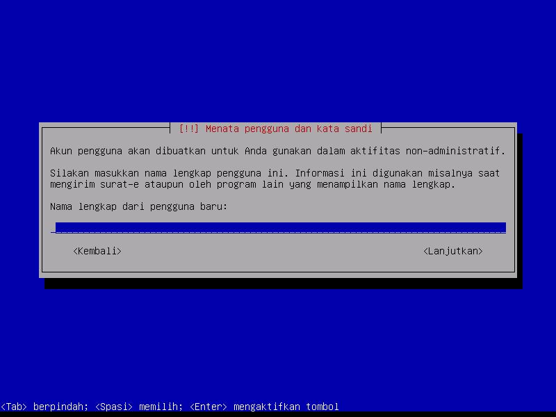 Instalasi Debian: Tambahkan Nama Pengguna Baru