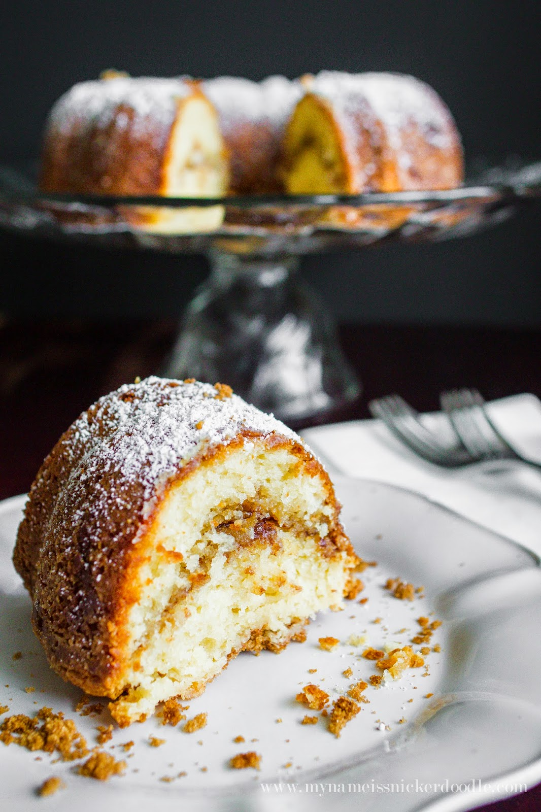 This Cinnamon Sour Cream Bunt Cake is the perfect recipe for dessert, brunch or breakfast!  |  mynameissnickerdoodle.com