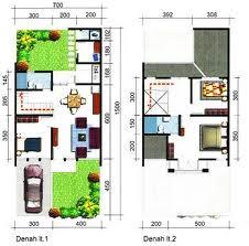 Denah Desain rumah minimalis 2 lantai Lahan 7 x 15 M