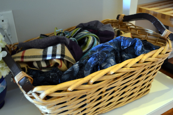 Basket with winter scarves: Design Your Entryway | DIY Playbook