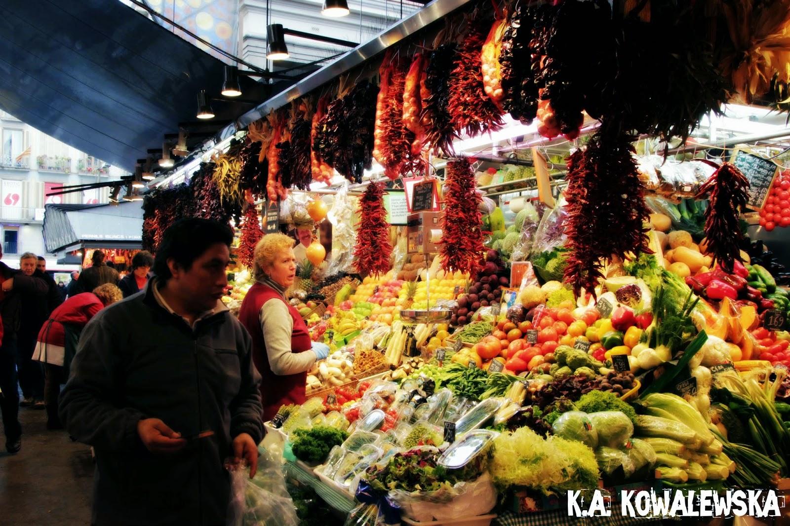 La Boqueria Barcelona La Rambla kolorowy