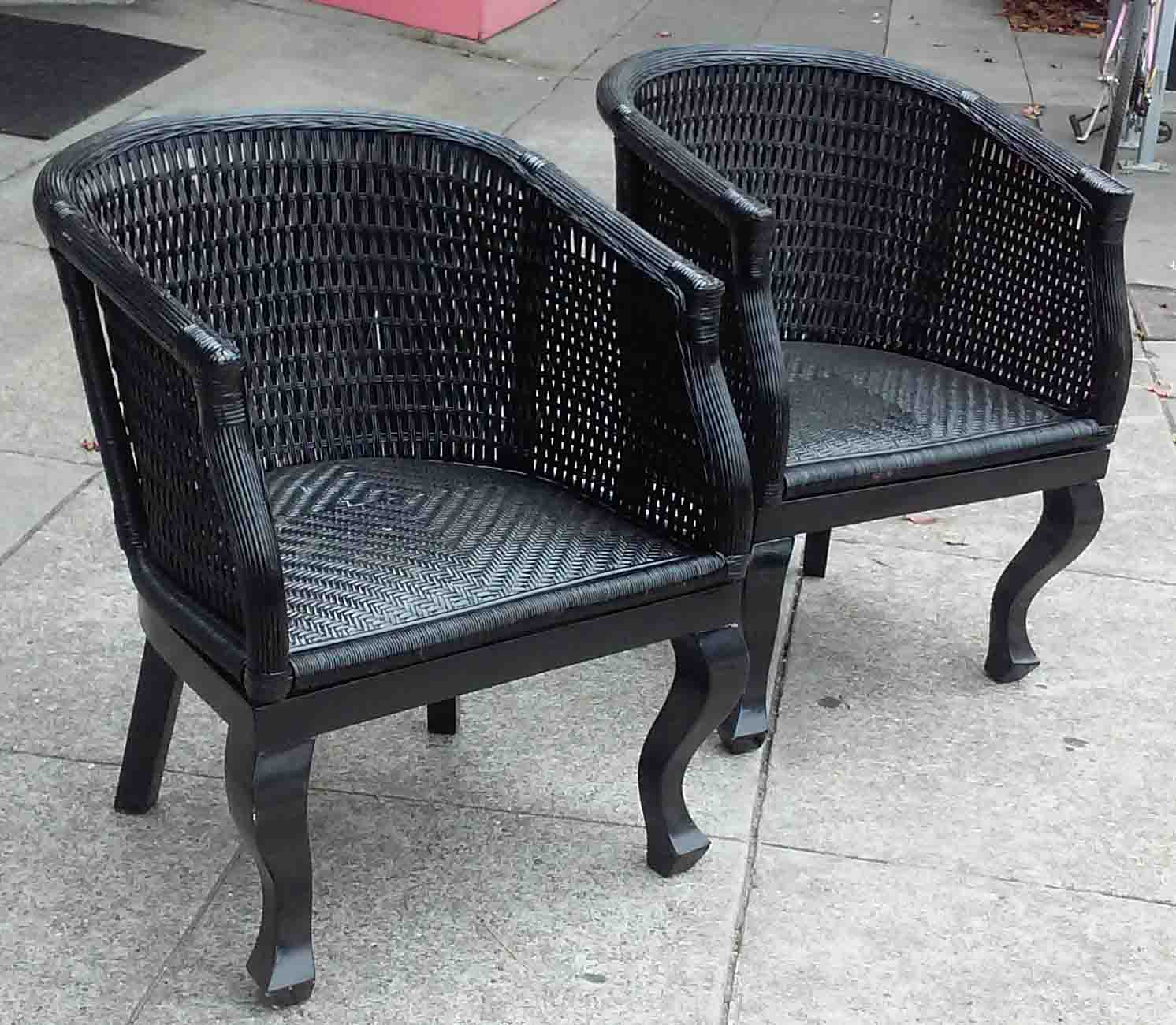 uhuru furniture collectibles sold black wicker patio chairs 35 ea