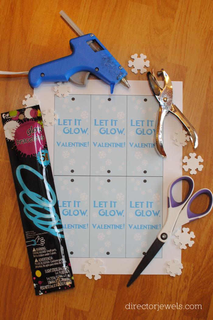 """Frozen Valentines, """"Let It Glow"""" Frozen Inspired Classroom Valentine Cards, Glow Stick Valentine Card at directorjewels.com"""