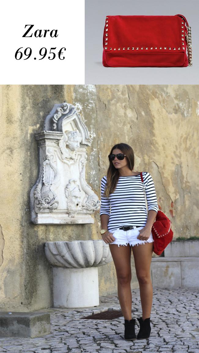 Bolso de ante con tachas o tachuelas de Zara y look con él de la bloguera Trendy Taste.