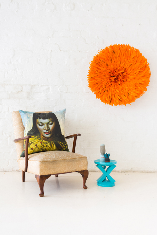 Safari Fusion blog | Snap happy Friday | Tretchikoff Cushion, Batonga Stool, Crochet Cactus & Bamileke Feather Headdress by Safari Fusion