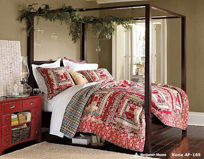 Christmas Bedroom Decoration Ideas Bedding with ornaments on top