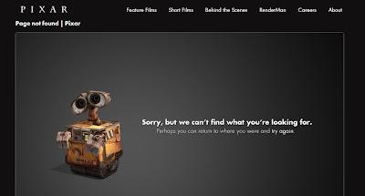 Página de error 404 en la web de Pixar, animación, cine