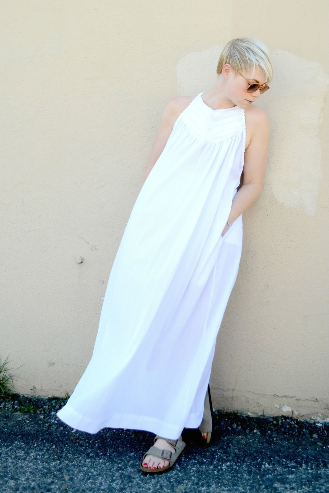 vintage, maxi, dress, white, birkenstocks, street style, seattle, summer