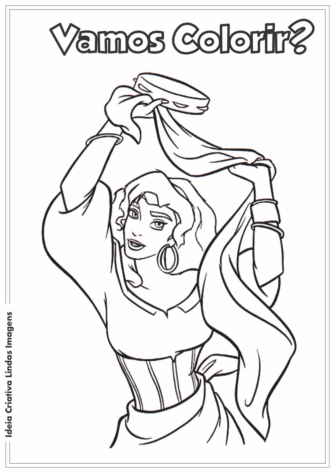 O Corcunda de Notre Dame - Esmeralda desenho pra colorir