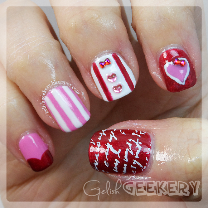 Gelish Valentine's Day Geek Nails