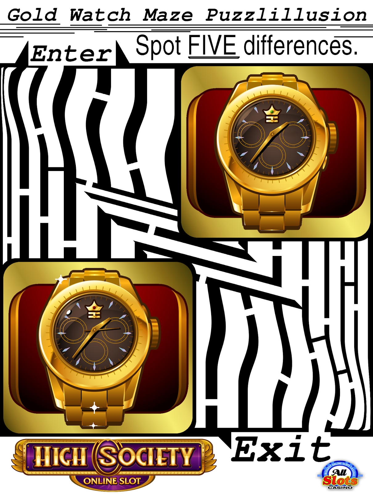 vip maze puzzlillusion of a golden watch