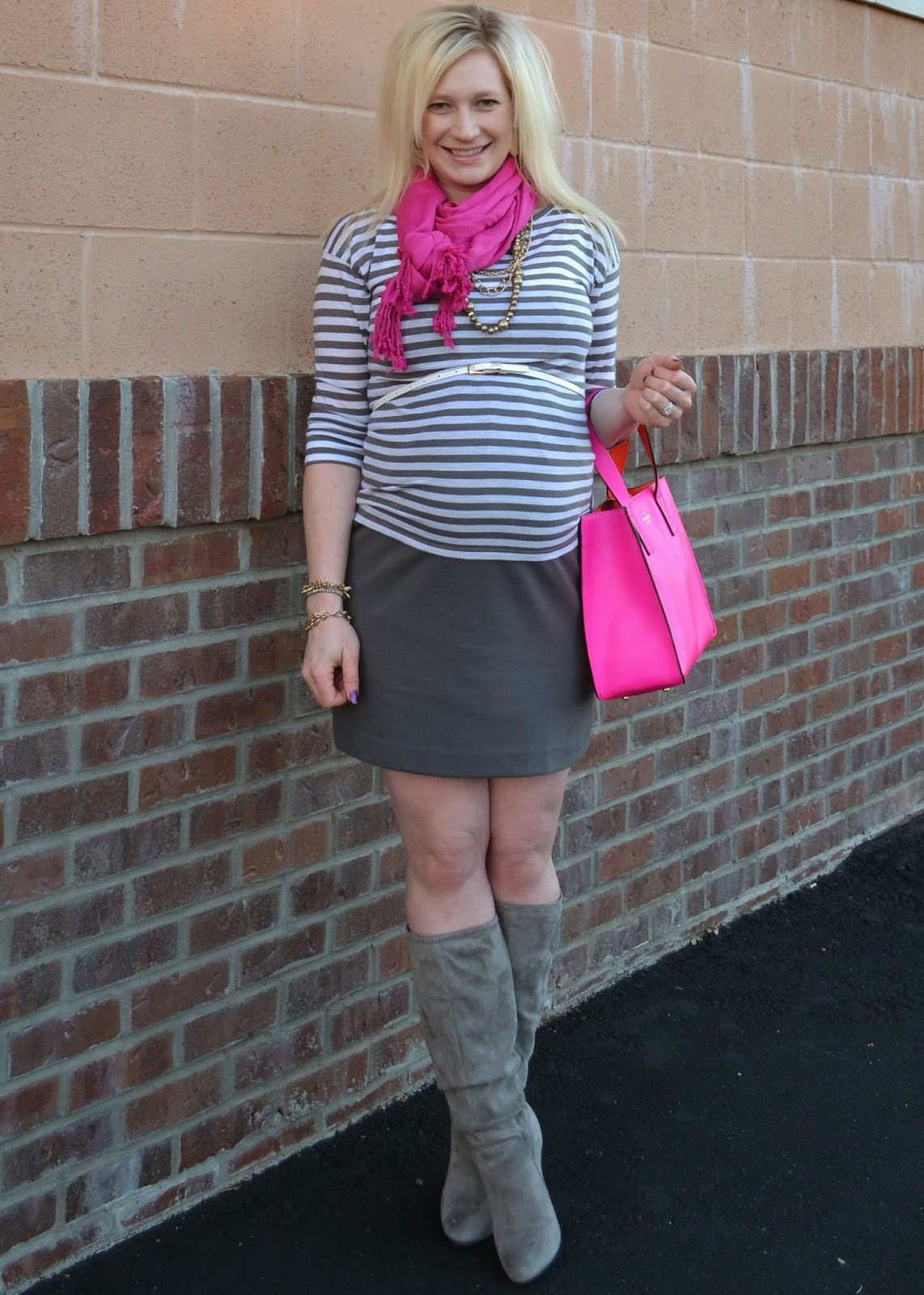 Grey stripes and pops of pink