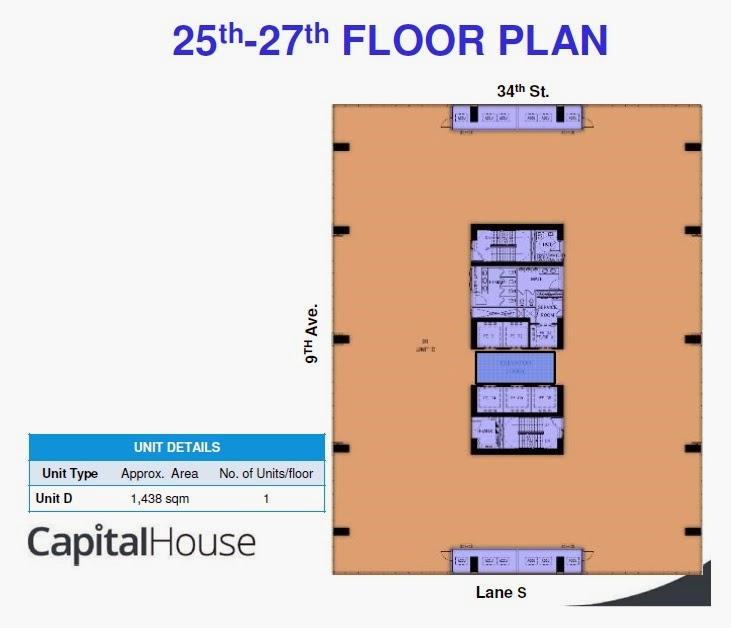 Penthouse Floor Plan of Capital House New Office Building in Bonifacio Global City