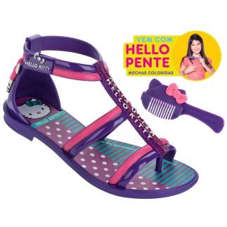 Modelo sandália Hello Kitty pente para mechas coloridas