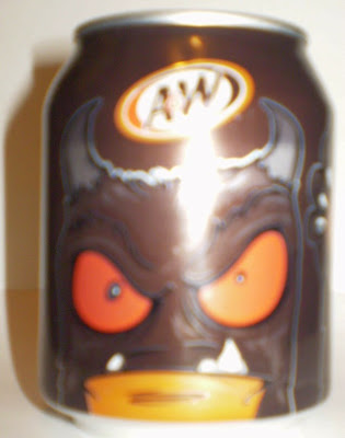 Side view of A&W Root Beer mini monster can