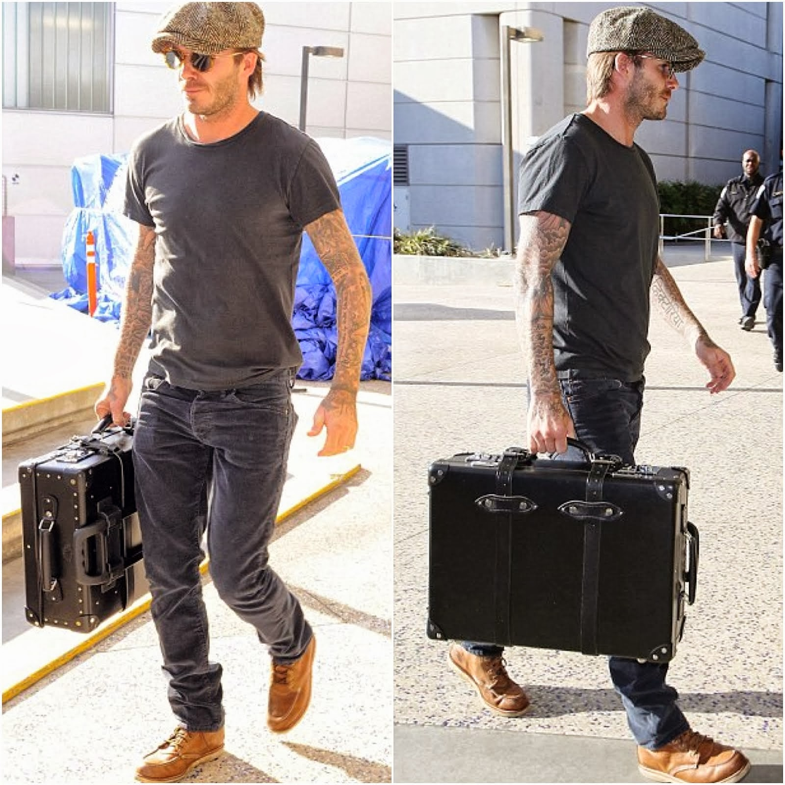 00O00 Menswear Blog: David Beckham's Globe-Trotter luggage - LAX Airport October 2013