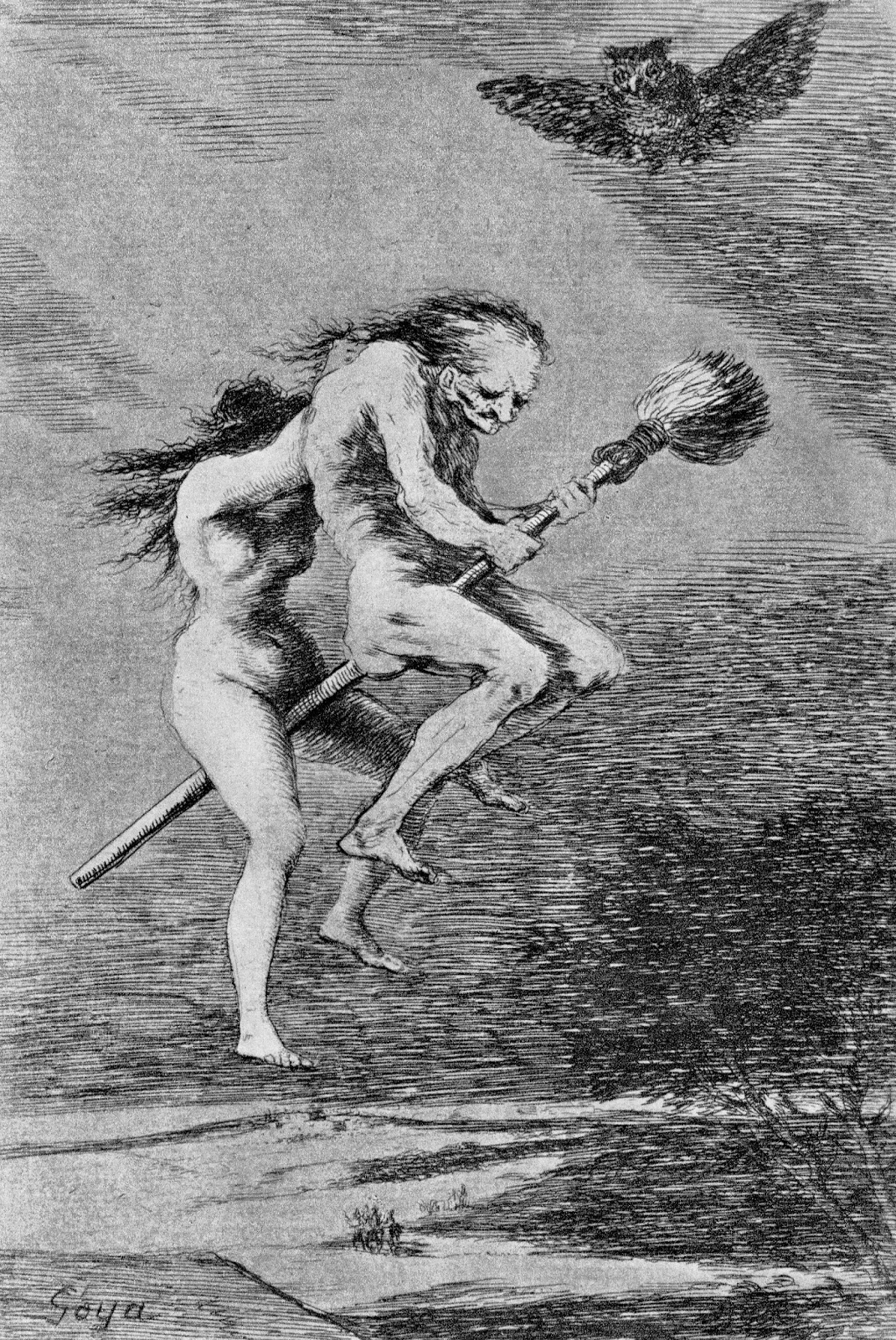 """Pretty Teacher"" Francicso de Goya (1799), engraving, witches on a broomstick, witches' sabbat"