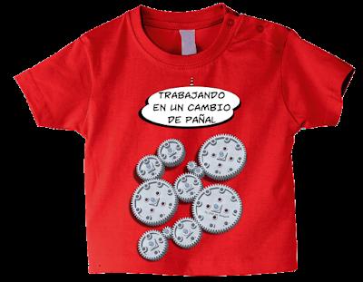 """Camiseta manga corta para bebé """"Maquina de hacer caca"""" color rojo"""