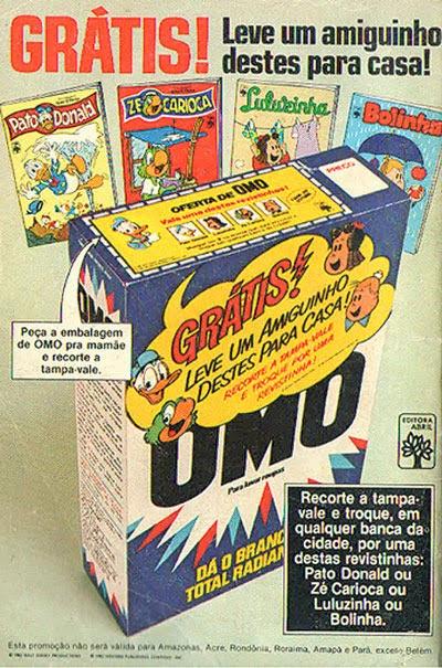 Ação promocional do Sabão OMO onde os consumidores poderiam trocar a embalagem por gibi.