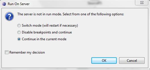 OSB Eclipse Debugger Choose Server Mode